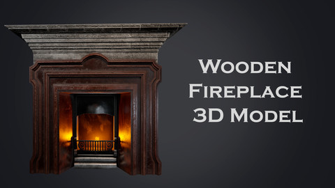 Wooden Fireplace 3D Model