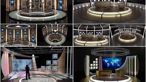 Virtual TV Studio Chat Sets Collection 10