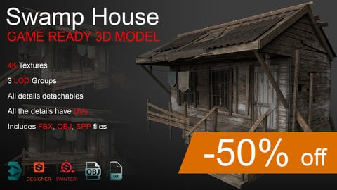 Swamp House. Game ready 3d model