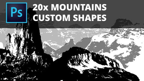 20x HIgh Quality Mountains Custom Shapes for Photoshop