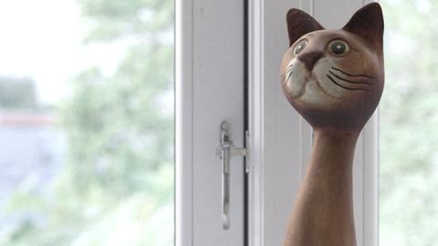 Wooden Long Neck Cat photoscanned model