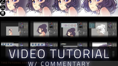 How To Draw Hair (Anime Render) W/Commentary