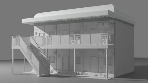 Small Japanese Apartment Building Model (FBX, OBJ)