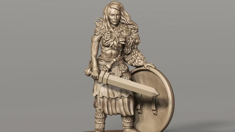 Shieldmaiden Miniature for 3d printing