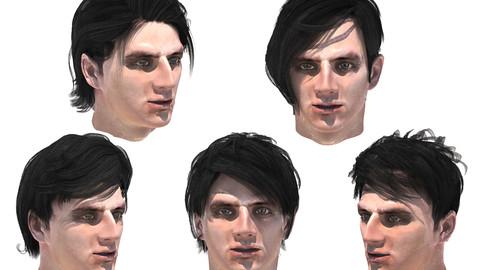 Set male hair 5 species