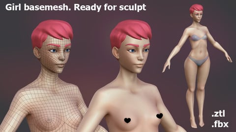 Girl basemesh for sculpt