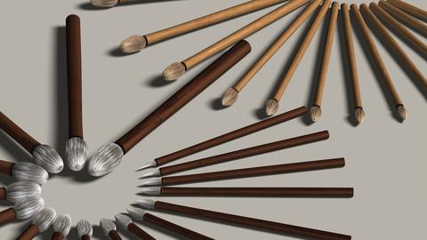 3D Medium-Tipped Brushes