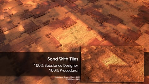 Sand over Tiles Material - Substance Designer - 100% Procedural