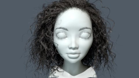 Real-Time Curly Hairstyle Unreal Engine 4/Marmoset Toolbag project