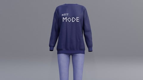3D female printed sweatshirts and blue jeans