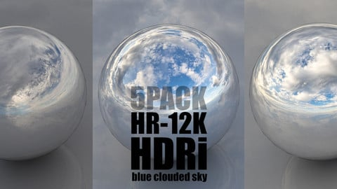 SKYDOME HDR 360° PANORAMA  - blue clouded skies 5PACK