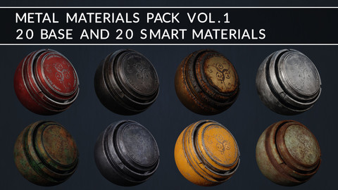 METAL MATERIALS PACK VOL. 1 (20 BASE AND 20 SMART MATERIALS)