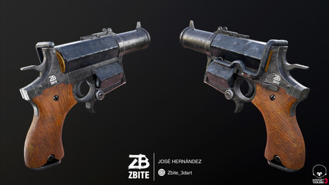 The Kampfpistol - Fan art Wolfenstein Low-poly 3D
