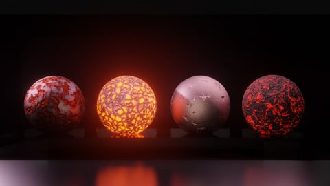 Four procedural materials in a blender