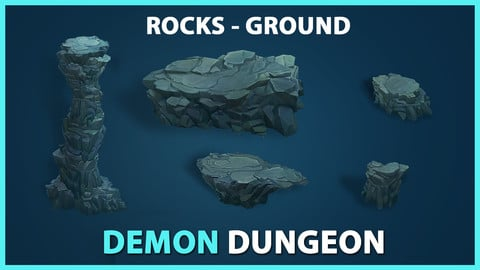 Demon Dungeon Rock Pack – Stylized Props UE4 & UNITY