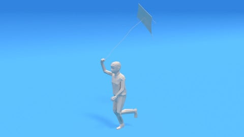 Low Poly Kid Running With a Kite