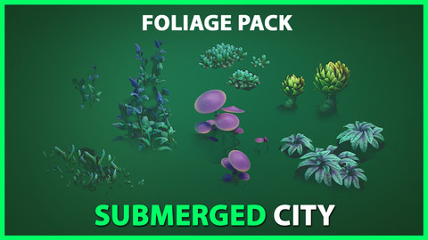 Submerged City Stylized Foliage - Package UE4 & UNITY