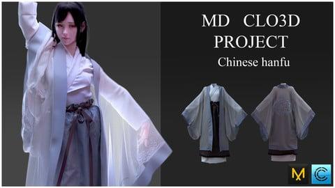 Chinese hanfu. Clo3d, Marvelous designer project.