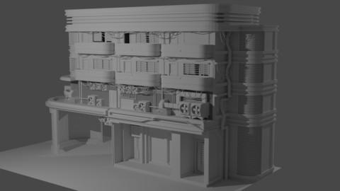 Cyberpunk Building Complex (FBX/OBJ)