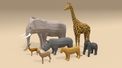 Low Poly Cartoon African Animals Collection