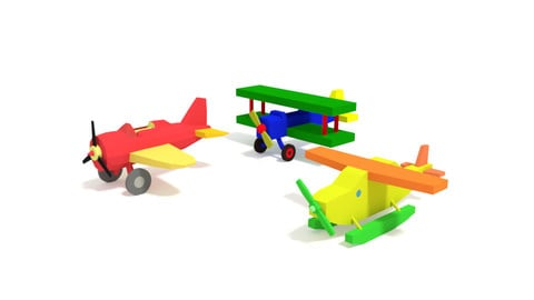 Low Poly Cartoon Toy Airplanes Pack Collection