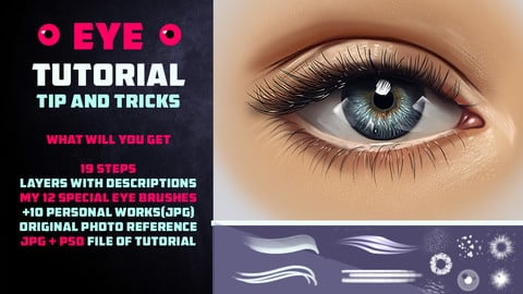 EYE TUTORIAL 2 / 12 BRUSHES / TIP AND TRICKS | PHOTOSHOP