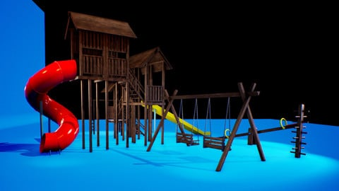 Modular Wooden Playgrounds Pack (UE4 PROJECT!!)