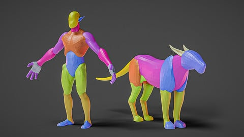 Monster Base Mesh Humanoid and Quadruped