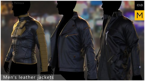 Men's leather jackets. Clo3d, Marvelous designer projects