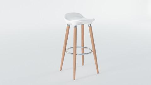 White Wooden Barstool