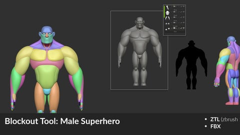 Blockout tool: Stylized Male SuperHero