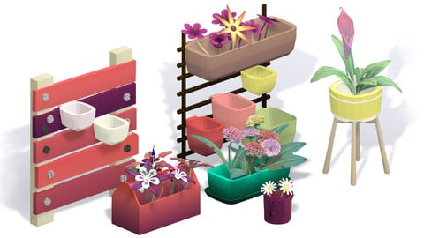 Stylised and LowPoly-ish Flowers and Pots
