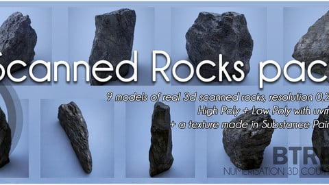 Scanned Rocks Pack - 9 Rocks HP + LP uvw + textures