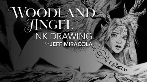 Woodland Angel Ink Drawing Technique by Jeff Miracola