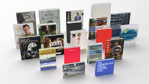 Collection of hardcover books 3D models.