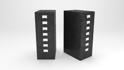 Vintage Metal filing cabinet 3D model.