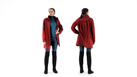 Woman in red coat 71