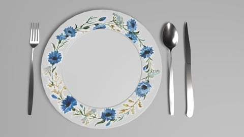 Ceramic Plate and Utensils