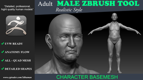 Zbrush tool-Low poly Basemesh Adult Old Male 191111