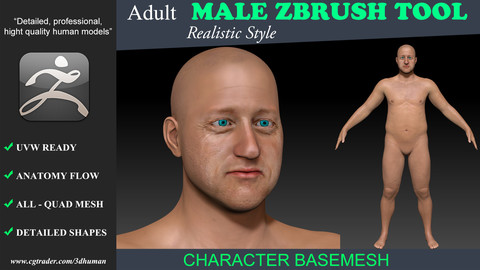Zbrush tool-Low poly Basemesh Adult Male 191112 Clinton