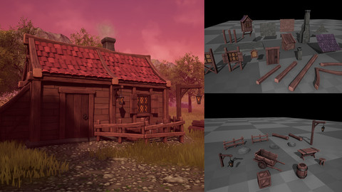 Stylized Medieval Fantasy - Modular Building and Prop Pack Low-poly 3D