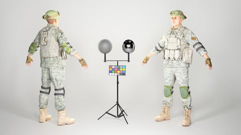 Fully equipped game ready American soldier in ACU uniform with props 20