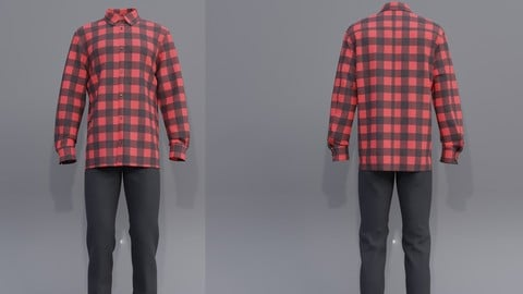 Male outfit - checkered button up shirt and jeans 3d model