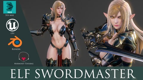 Elf Swordmaster - Game Ready