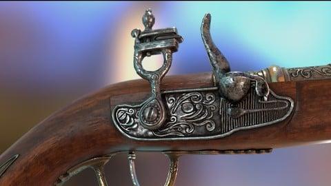 pirates flint lock gun ( Single set PBR Textures 4K )