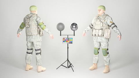 Fully equipped game ready American soldier with props 30