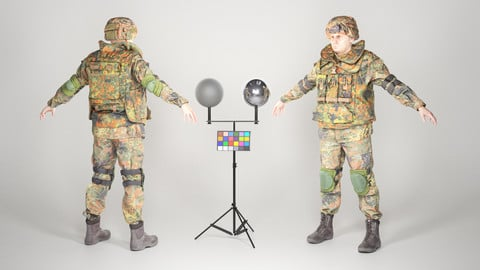 Fully equipped game ready soldier in Bundeswehr Uniform with props 28