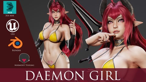 Daemon Girl - Game Ready