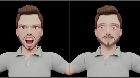 Rigged - Stylized Character Man in Blender Cycles and Eevee