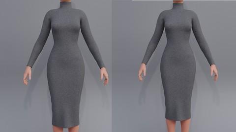 3d Turtleneck bodycon wool dress